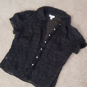 Loft Black and White Polkadot Blouse